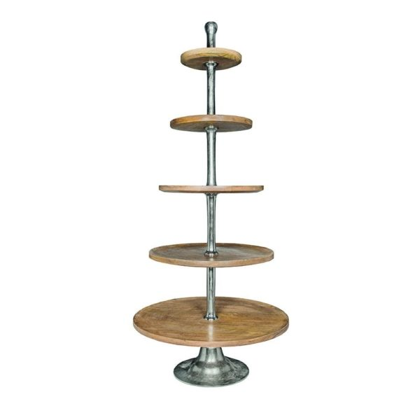 Serving Stand   Colored  Round Aluminium 75x75x170cm Mars & More