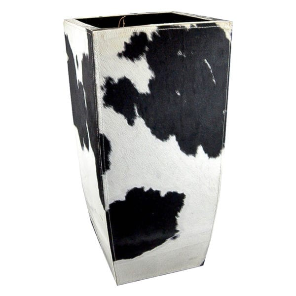 Planter Cow  Black and White   Leather 35x35x75 Mars & More