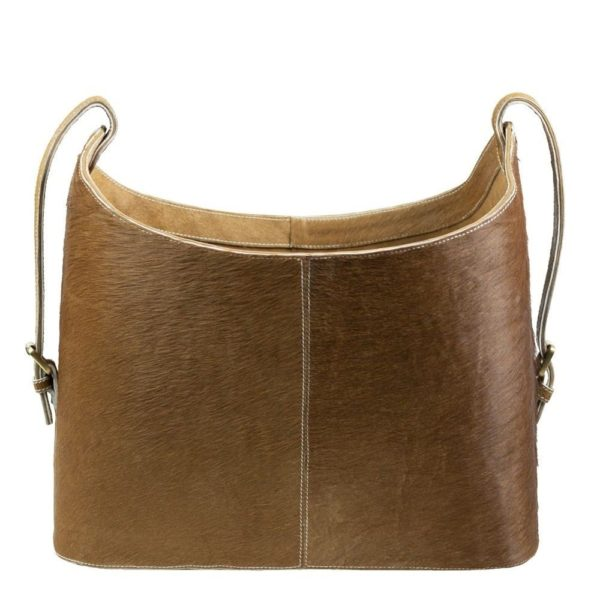 Basket Cow  Brown   Leather 45x20x40cm Mars & More