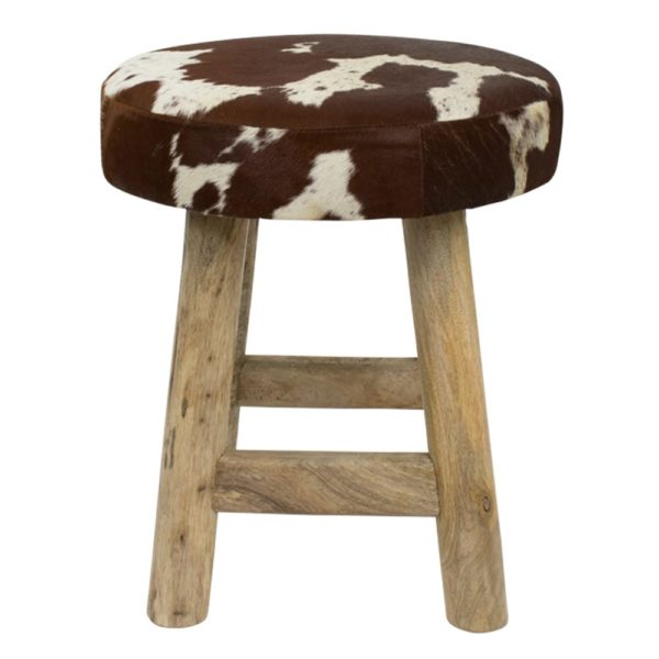 Stool Cow  Brown  Round Leather 40x40x45cm Mars & More