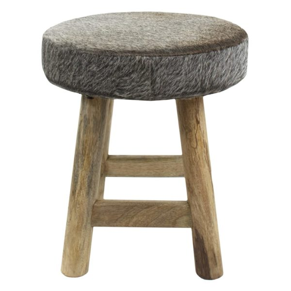 Stool Cow  Gray  Round Leather 40x40x45cm Mars & More