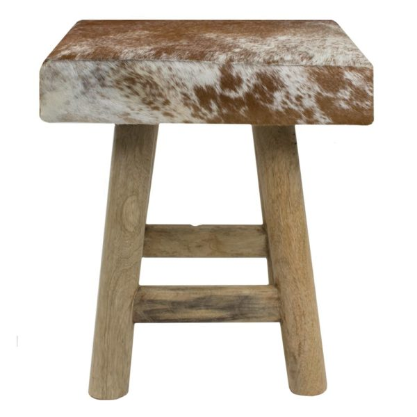 Stool Cow  Brown  Square Leather 35x35x35cm Mars & More