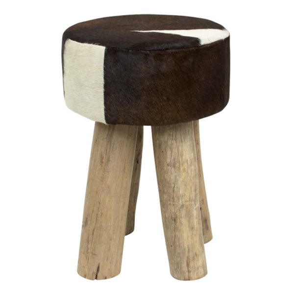 Stool Cow  Brown  Round Leather 30x30x45cm Mars & More