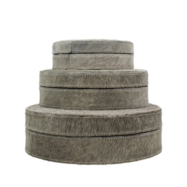 Box Cow  Gray  Round Leather 25