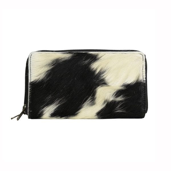 Wallet Cow  Black and White   Cotton 20x12x3